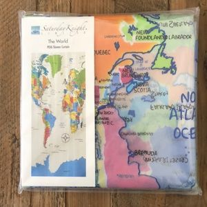 World Map Shower Curtain NWT